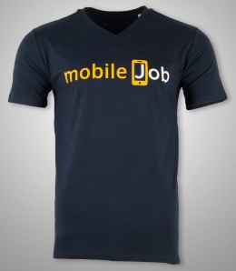 V-Neck Shirts für Mitarbeiter von mobileJob.com [Flexdruck]