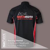 Racing Hemd bedruckt mit 2-farbigem Flexdruck, hinten