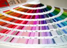 Farbbestimmung mit Pantone® Farbfächer beim Siebdruck